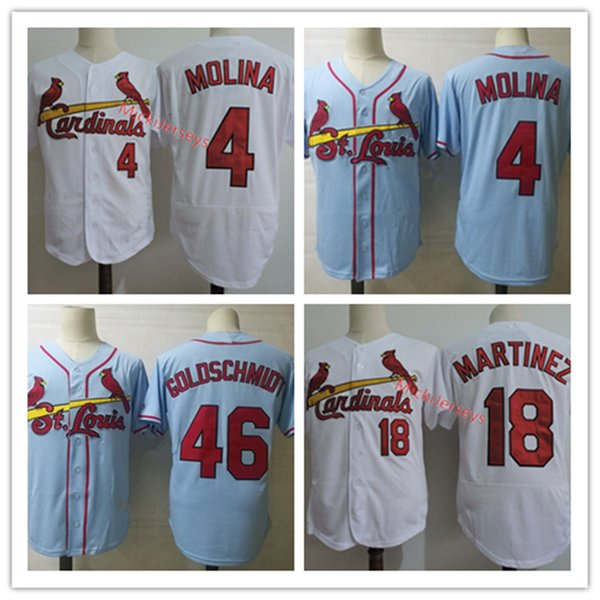 best selling Mens White #4 Yadier Molina Jersey Stitched #18 Carlos Martinez Jersey Light blue Embroidery #46 Paul Goldschmidt Jersey S-3XL