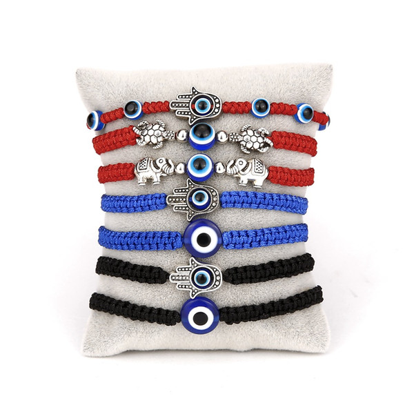 best selling Hot selling new palm two round bead blue eye evil eye red rope knitting Adjustable Braid Cord Strand Braided Friendship Bracelets