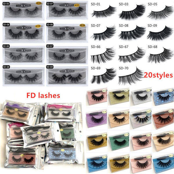 top popular 3D Mink Eyelashes Mink False lashes Soft Natural Thick Fake Eyelashes 3D Eye Lashes Extension 20 styles ship out within 24hours DHL free 2021
