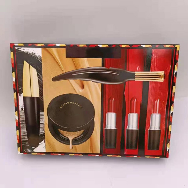 best selling 1set Dropship Brand 6pcs Makeup Set Cosmetic Bundle 3 lipsticks+1 mascara+1 eyeliner+1 cusion makeup kit Christmas Gift