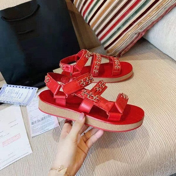 Europe 2021 new summer leather chain Velcro platform platform sandals lady casual fairy Roman shoes
