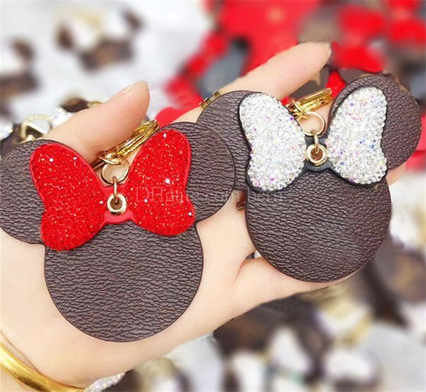 best selling Mouse Designer with Diamond Bow Keychain PU Leather Animal Car Keyrings Key Chain Holder Fashion Key Ring
