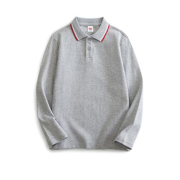 top popular 95% cotton soft breathable boys polo shirt children's long sleeve T-shirt versatile bottoming Top Girls Lapel solid T-shirt 2021