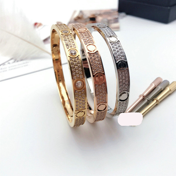 top popular Titanium Steel 3 Row Full Diamond Bracelet Fashion Women Men Chirstmas Bangle Bracelets Distance Jewelry Gift with velvet bag 2021