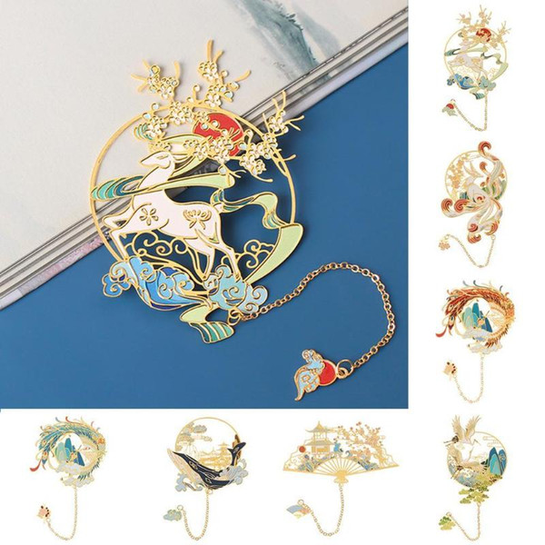top popular Chinese Style Brass Bookmark Pagination Mark Tassel Book Clip Metal Peacock Koi Group Fan Shape Retro Stationery School Supplies 2021