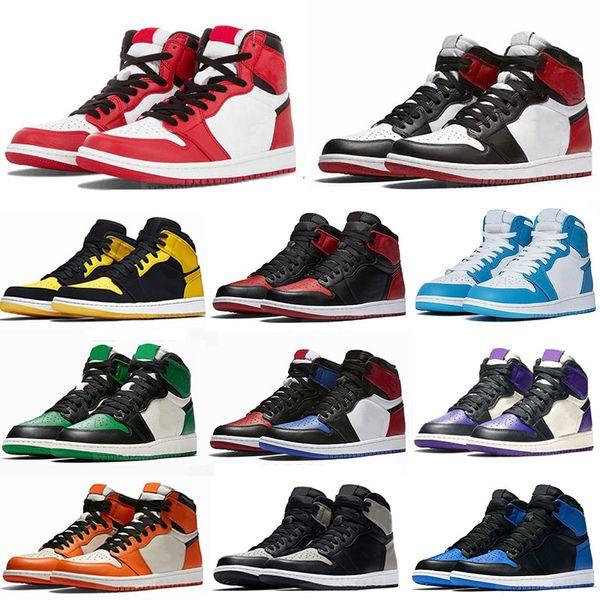 top popular Jumpman 1 Basketball shoes OG High Travis Scotts Running shoes UNC Mens Homage To Home Royal Blue Men Sport Designer Sneakers Trainers 36-46 2021