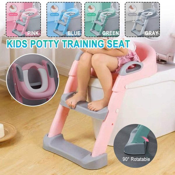 top popular Folding Baby Potty Infant Kids Toilet Training Seat 2 Adjustable Levels Ladder Toilet Training With Thicken Soft Cushion LJ201110 2021
