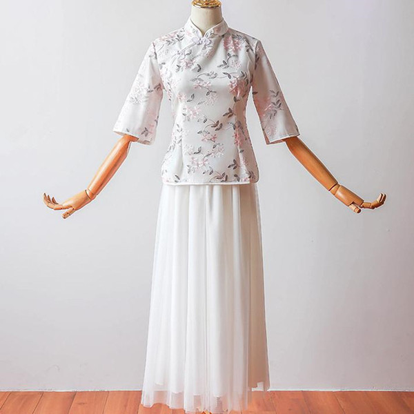 2 pieces/set Fashion half Sleeve Embroidery Vintage Modern Traditional Chinese Dress Qipao Cheongsam Chinese Bridesmaid Dresses