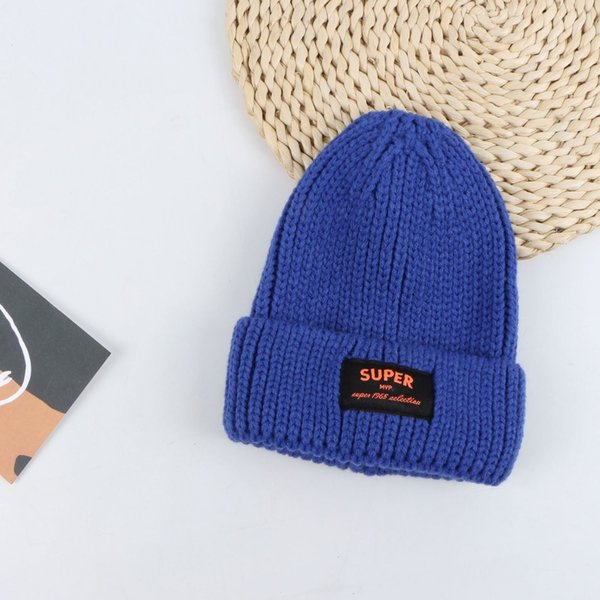 Sombrero de lana de etiqueta de súper tela - azul real