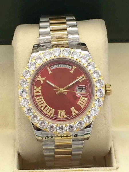 best selling Hot fashion top designer diameter 43mm big diamond not repair steel automatic mechanical men's folding buttonMen's sports machinery watch