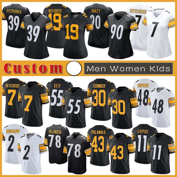 best selling 7 Ben Roethlisberger Custom Men Women Kids Football Jersey 11 Chase Claypool 19 JuJu Smith-Schuster James Conner Diontae Johnson Bud Dupree