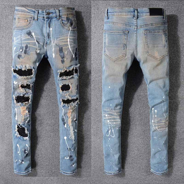 top popular 2020 Clothing Pants Men Women T Shirts Panther Print Army Green Destroyed Mens Slim Denim Straight Biker Skinny Jeans Men Size 29-42 2021