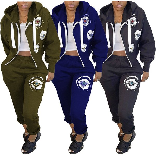 top popular Womens clothing long sleeve cardigan outfits 2 piece set sexy printed tracksuit jogging trousers sweatshirt tights sport suit klw0816 2021