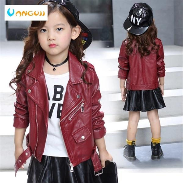top popular children's pu jacket Girls motorcycle jacket kid outwear solid color Zipper belt Faux Leather spring Autumn fashion pu jacket Q1123 2020
