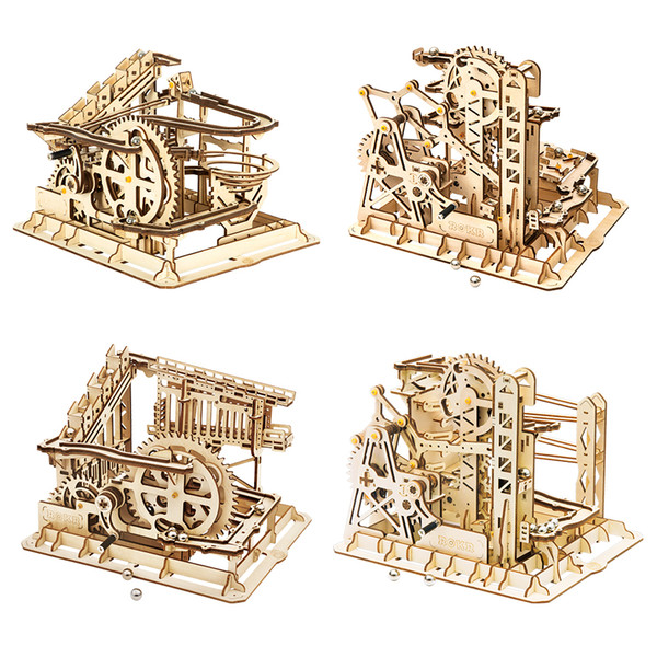 best selling Robotime ROKR Blocks Marble Race Run Maze Balls Track DIY 3D Wooden Puzzle Coaster Model Building Kits Toys for Drop Shipping J1202