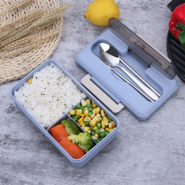 top popular Leakproof Lunch Box Portable Hiking Camping Office School Food Container Microwave Heating Keep Fresh With Tableware Bento Box 201210 2021
