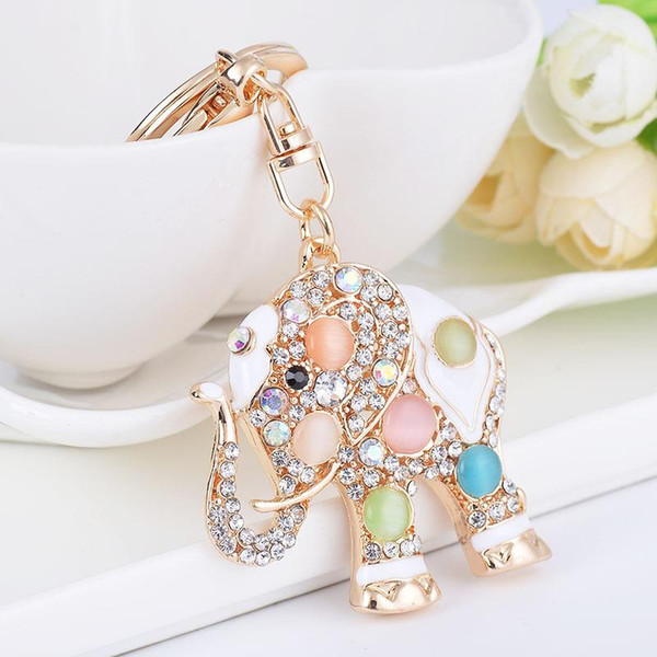 gold color metal elephant pendant keychain with full cz crystal jewelry key ring chains car keyring for women bag, Silver