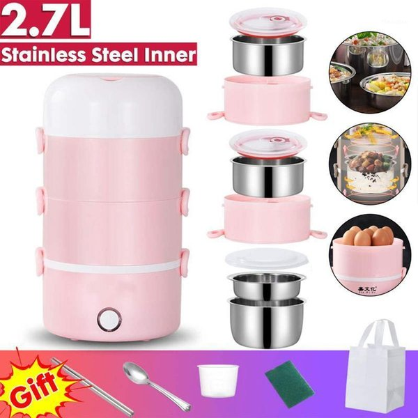 top popular 2.7L Electric Rice Cooker Stainless Steel 4 Layers Steamer Portable Meal Thermal Heating Lunch Box Container Bento Box 220V1 2021