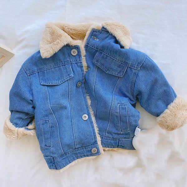 best selling Halilo 2020 Winter Girls Jeans Jacket Blue Denim Plus Velvet Thicken Warm Kids Outerwear Coats Infant Baby Christmas Clothing Q1123