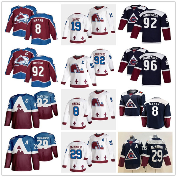 top popular 2021 Reverse Colorado Avalanche Nathan MacKinnon Cale Makar Gabriel Landeskog Joe Sakic Mikko Rantanen Home Away White Maroon Hockey Jerseys 2021