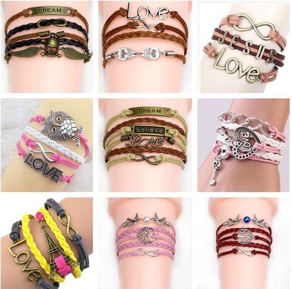 best selling Mix styles charms jewelry bracelets charms infinity bracelet for women and men cross owl love bird believe