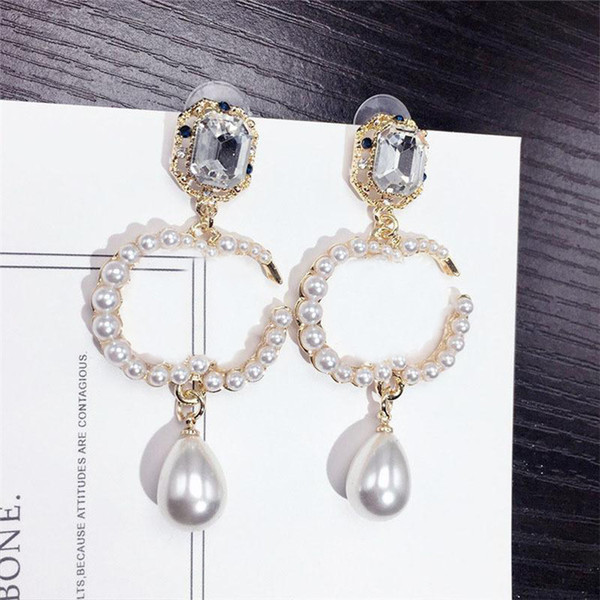 best selling Classic Diamond Pearl Earrings Letters Designer Ladies Earrings Women Pendant Earrings Studs Crystal Brand Earring Jewelry