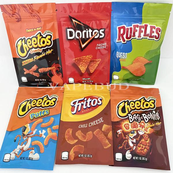 top popular 600mg 1OZ CHEETOS DOTITOS RUFFLES FRITOS CHEESE CHIPS gashead airhead budhead runtz flamin hot Infused Candy EDIBELS Packaging mylar Bag 2021