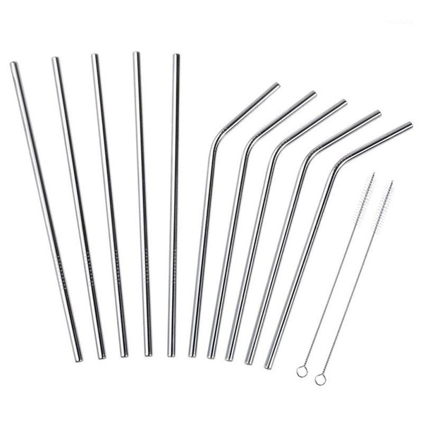 best selling Stainless Steel Straws 12 PCS Set, Stainless Steel Straws, 5 Straight And 5 Shrinked With 2 Cleaning Brushes, 21.5cmsilver1