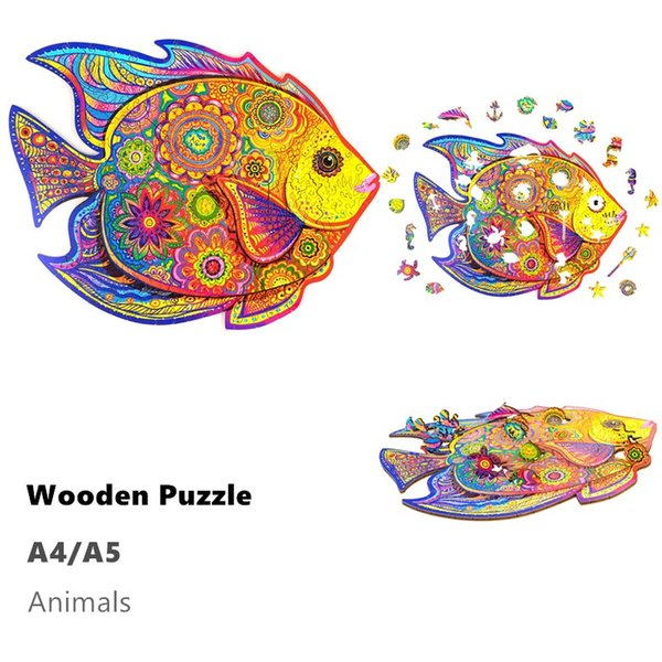top popular Sea Shipping Wooden Jigsaw Puzzles Animal Shape Jigsaw Pieces Best Gift for Adults and Kids Inspiring Wooden Puzzles Toys A4 2021