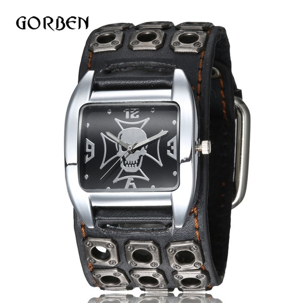 punk gothic style rock mens wrist watch leather strap skull quartz sports mens bracelet watches gifts relogio masculino 201120, Slivery;brown
