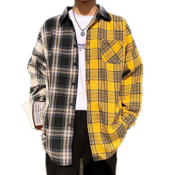 best selling Korean Plaid Shirts For Men Fashion Patchwork Long Sleeve Casual Shirt Hip Hop Streetwear Man Blouse