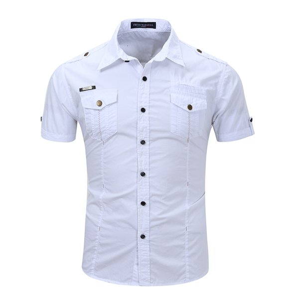top popular Spring Summer Mens Cool Shirt Solid Color Short Sleeve shirt Casual Work shirt Size S-3XL 2021