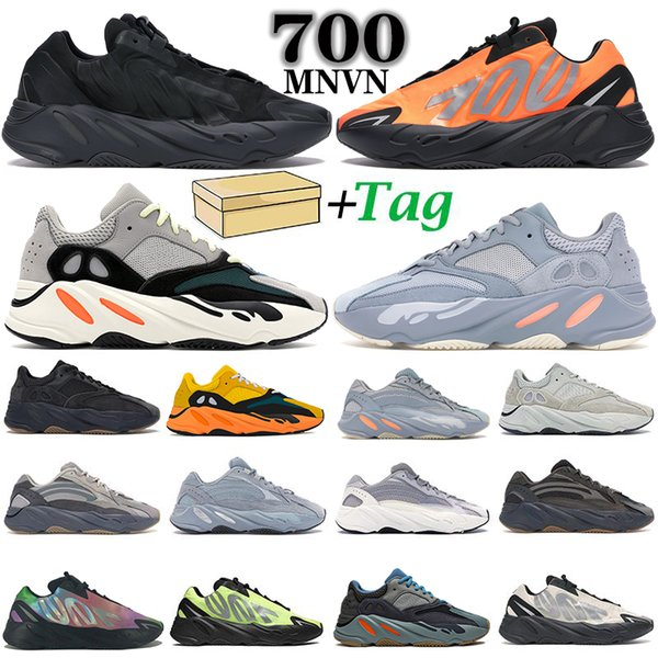 top popular New 700 V2 Runner Solid Grey Inertia MNVN Orange Phosphor men women running shoes analog carbon blue static trainers sports sneakers 2021