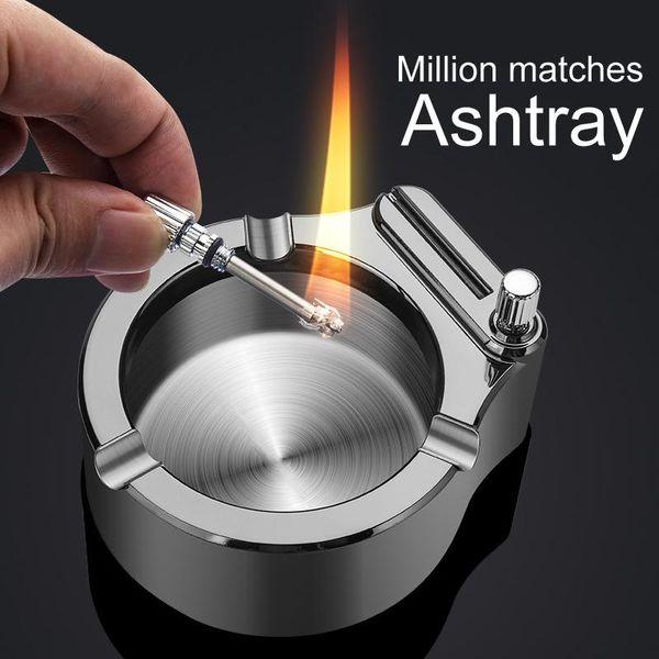 top popular Retro Metal Ashtray Ten Thousand Match Lighter Multifunction Ashtray PUO88 2021