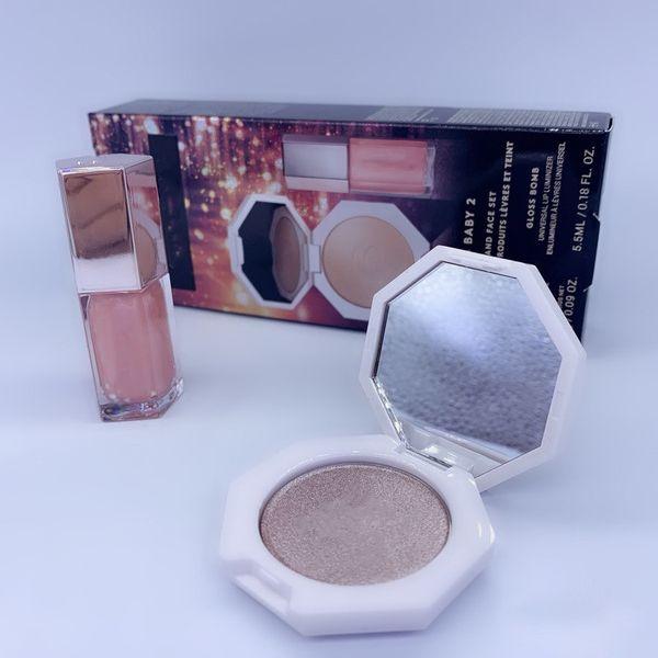 top popular Hot Cosmetics Makeup Matte Liquid Lipstick Lip Gloss + Foundation Highlighter Face Setting Powder Palette 2in1 Bronzer Lipgloss Se 2021
