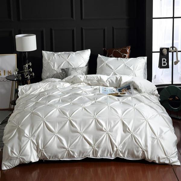 top popular LOVINSUNSHINE Luxury Silk Bedding Set Queen Comforter Bedding Set King Duvet Cover Set UO01# Y200111 2021