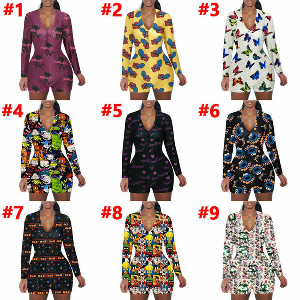 best selling Women sexy Onesies Designer Cartoons Printing Nightwear Button Skinny V-neck Short Playsuit Jumpsuits Women Plus Size Rompers