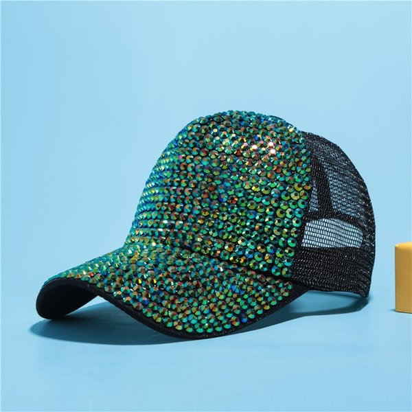 Black + Green Diamond Net Cap