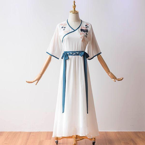 Half Sleeve V-neck Tea-length Plus Size Chiffon Vintage Cocktail Dresses Cocktail Dress Women Summer Party Han Chinese Dress