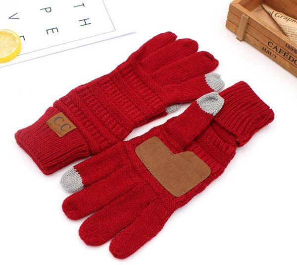 top popular CC Knitting Touch Screen Glove Capacitive Gloves CC Women Winter Warm Wool Gloves Antiskid Knitted Telefingers Touch Unisex Screen Skiing 2021