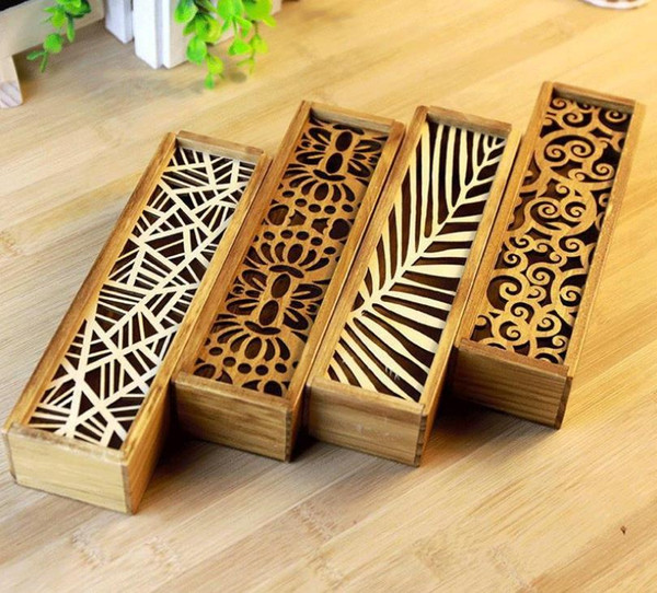 best selling 100PCS Vintage Style Convenient Hollow Wood Pencil Case Jewelry Storage Box Wooden Organizer Drawer Pen Holder School Gift SN3561