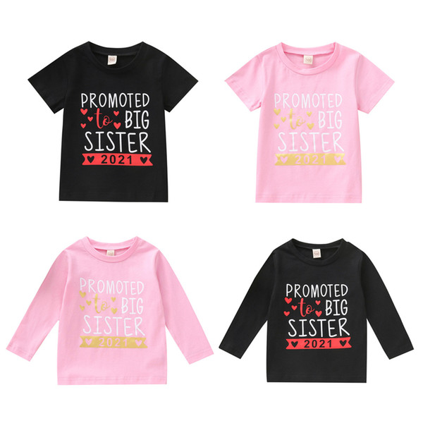 top popular Kids Girls Letter T-shirts Toddler Short Sleeve Tops Baby Long Sleeve Shirts Kids Casual Clothes Teens Leisure Outfits 1-7T 06210202 2021
