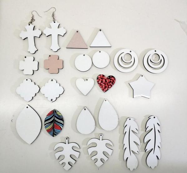 best selling 20pcs Sublimation blank earrings White wood eardrop for DIY Hot fashion personalized women ear-rings round waterdrop star shape ear pendants