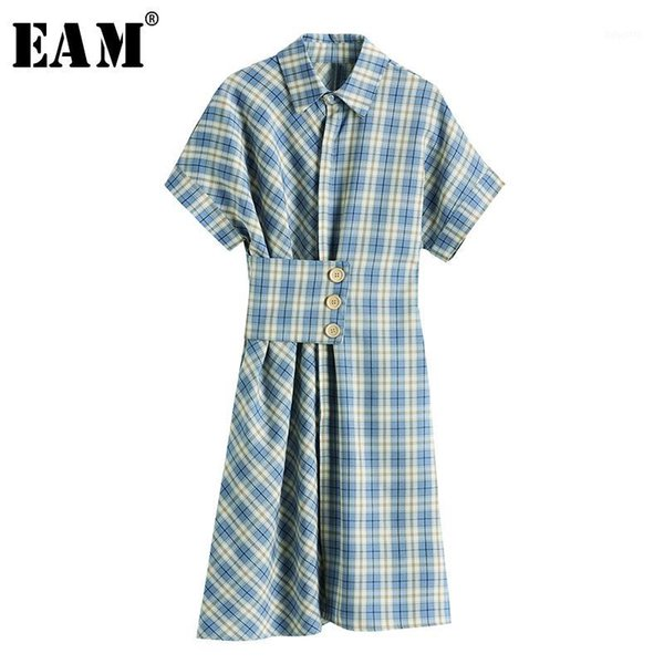 eam] women blue plaid pleated irregular shirt dress new lapel short sleeve loose fit fashion tide spring summer 2020 1x7441, Black;gray