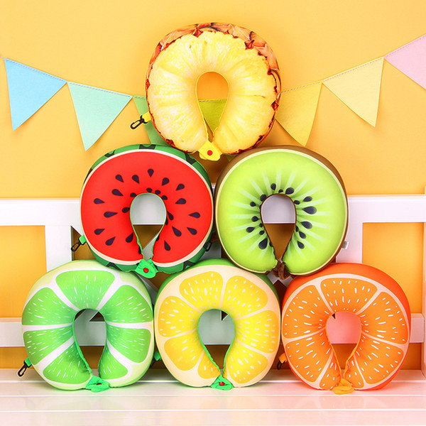 top popular 1pcs 6 Colors Fruit U Shaped Pillow Protect the Neck Travel Watermelon Lemon Kiwi Orange Pillows Cushion 2021