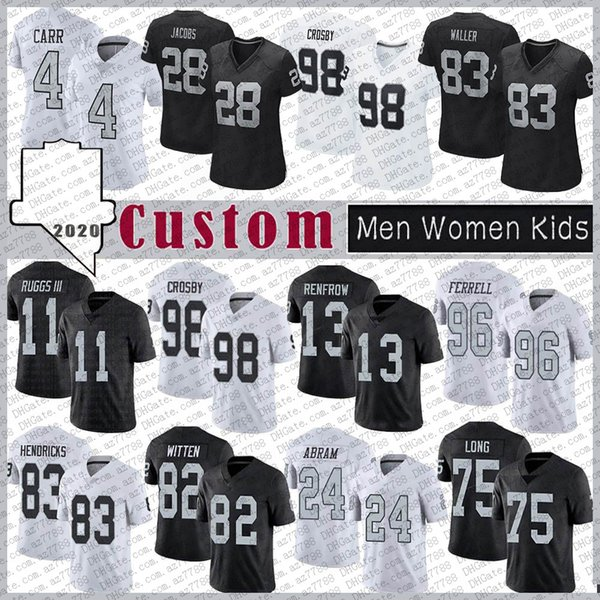 top popular 28 Josh Jacobs Custom Men Women Kids Football Jersey 4 Derek Carr Henry 11 Henry Ruggs III 83 Darren Waller 13 Hunter Renfrow Marcus Mariota 2021