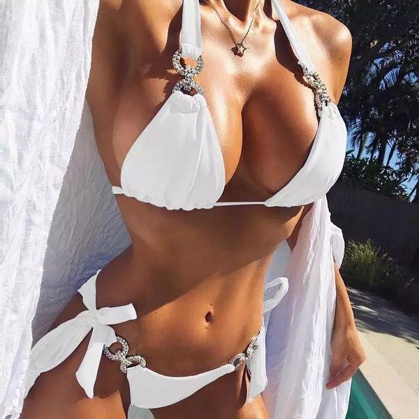 best selling Sexy Bandage Bikini Swimwear Women Brazilian Bikini Set 2021 Solid Swimsuit Cut Out Summer Beach Bathing Suits Swim
