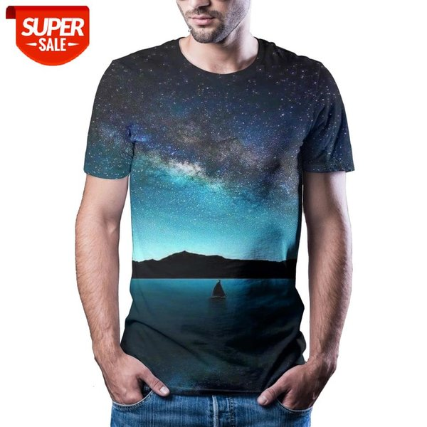 top popular New T-shirt men high-quality men's T-shirt short-sleeved landscape 3D printed men's fashion handsome #Pn9w 2021