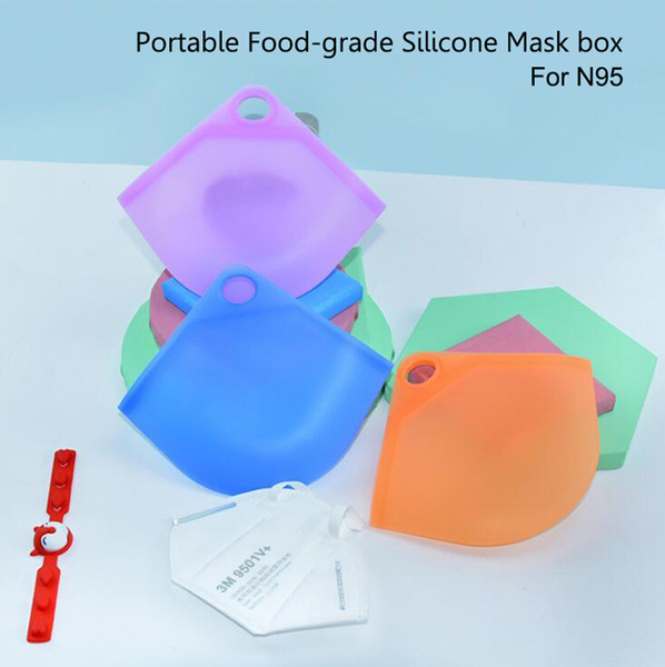 best selling Portable Food-grade Silicone Mask Case Face Masks Box Holder Container Mask Storage Box Organizer Folder Bag Protective Organizer Anti Dust
