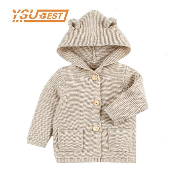 top popular 2019 Winter Warm Newborn Baby Sweater Fur Hood Detachable Infant Boys Girl Knitted Cardigan Fall Outwear Children Knitwear 1-24M Q1123 2020